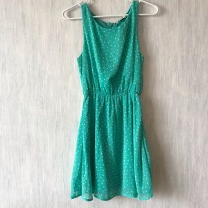 Forever 21 Teal polka dot dress